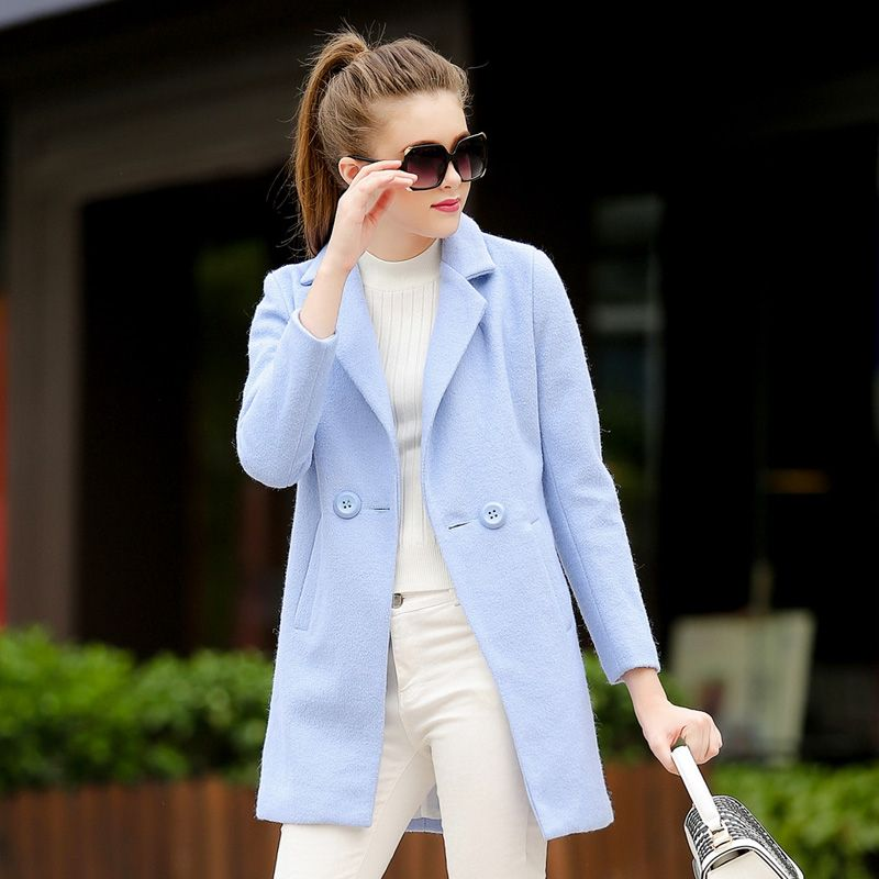 Women S Light Blue Wool Coat Jacketin
