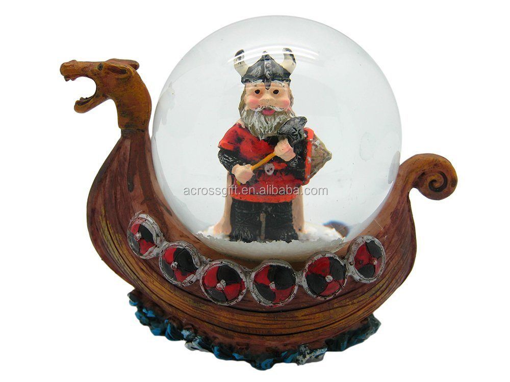 3.5inch poly resin handmade painted decorative ship snow globe for sale