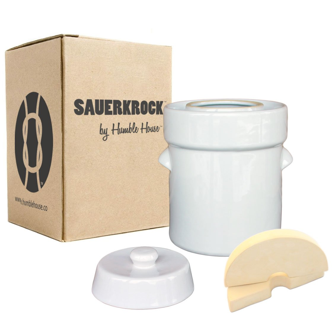 "Humble House Fermentation Crock German-Style SAUERKROCK ""Original"" 5 Liter (1.3 Gallon) Water Sealed Jar, Lid and Weights in Natural White - For Fermenting Sauerkaut, Kimchi and Pickles!"