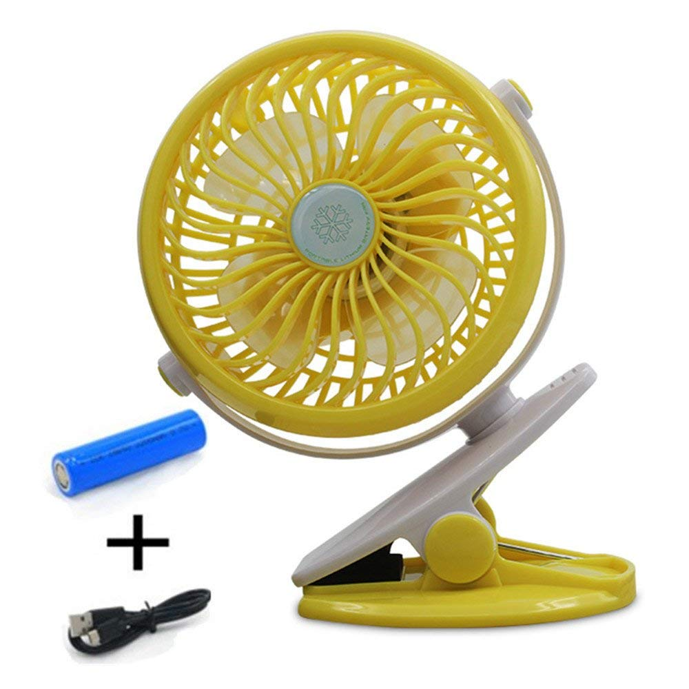 Battery Operated Clip on Fan、Mini Desk Fan Portable Handheld Powered by Rechargeable Battery or USB,Small Personal Electric Fan for Baby Stroller Adjust 360 Degrees, Quietness (Yellow)
