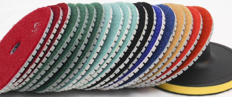 "Diamond Polishing Pads 4"" inch Wet/Dry Set of 22+1 Backer Grit 30 Pad Best Value Granite Concrete Marble Glass Terrazzo Lapidary fits secco Stadea SPTA hardin damo wet polisher dewalt grinder"