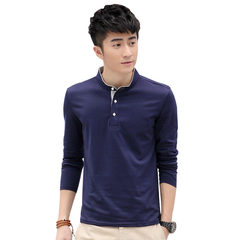 Men T Shirt 2015 New Summer Style Men's Cotton Long-sleeved T-shirt Men's Slim Fashion Mandarin Collar Casual T-shirt FHY643