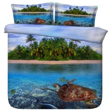 3d Bed Set Turtle Swimming in clear Maldives Ocean