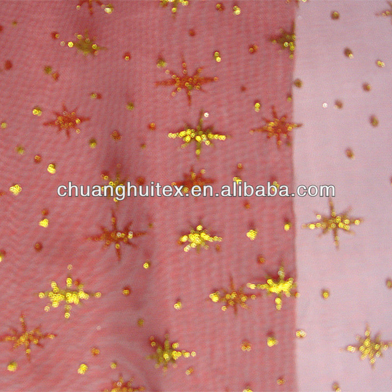 high quality floral embroidered nylon organza fabric for wedding dress