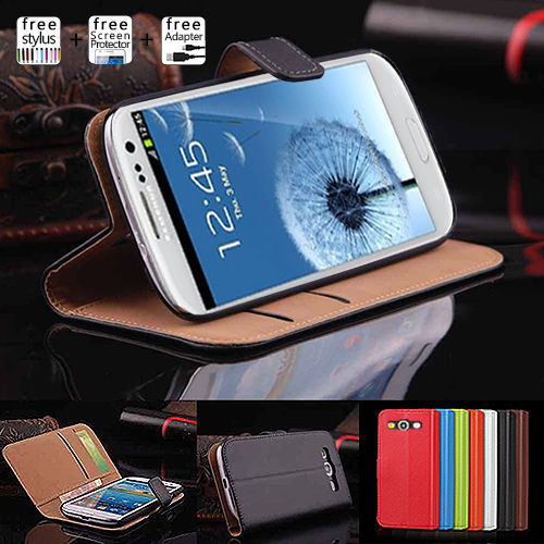 Classical Genuine Wallet Leather Case for Samsung Galaxy S3 S4 S5 Note 3 4 5