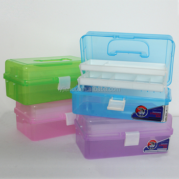 Clear Plastic Mini Two Tray Art Supply Craft Storage Tool Box