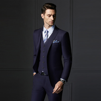 Two Ons Notch Lapel Long Sleeve Office Uniform Men Wedding Suits Pictures