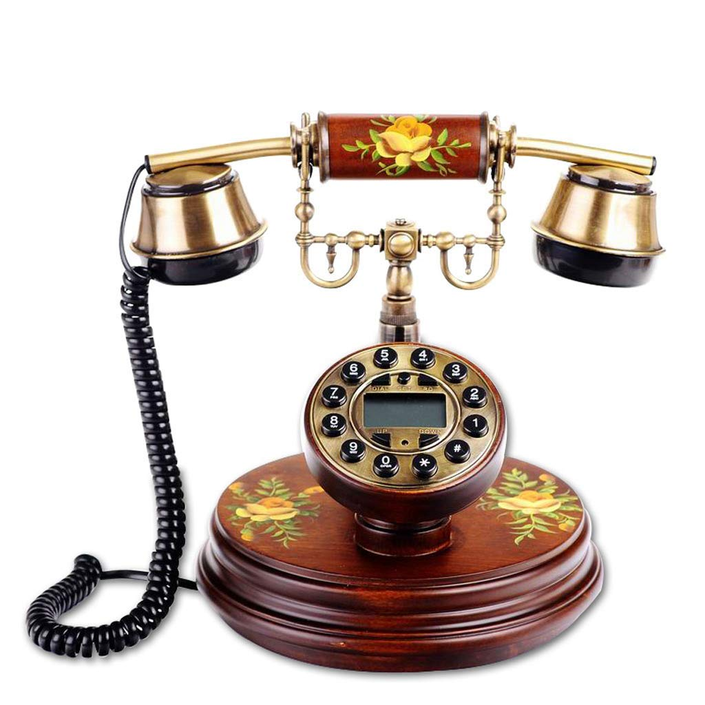 Neo-Classical Court Style European Retro Solid Wood Telephone Pastoral Style Caller ID Pure Hand-Painted Craft Home Office Bedroom Landline (Color : Brown)