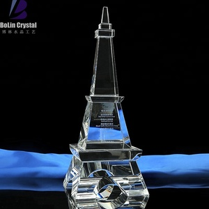 3d laser crystal cube eiffel tower trophy award home decoration crafts