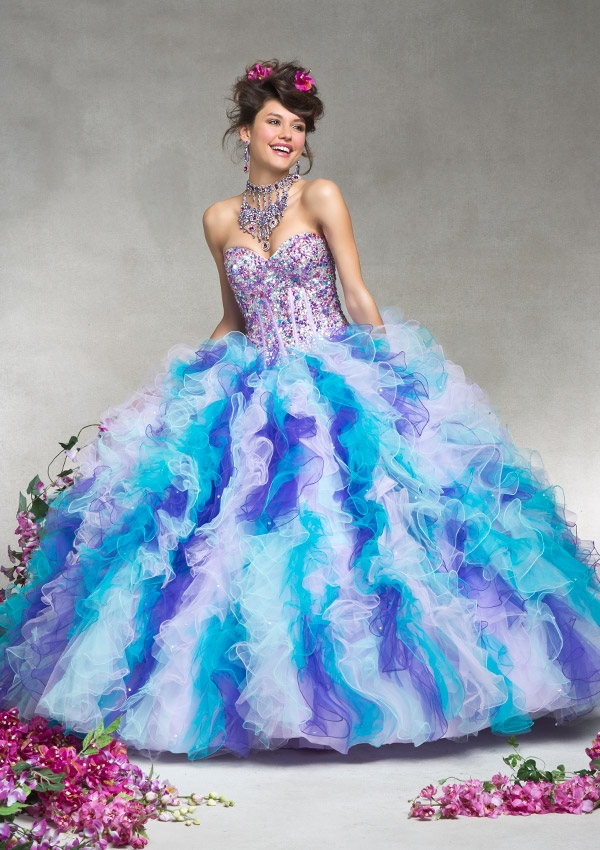 Colorful Rainbow Quinceanera Dresses Blue And White Sweet ...