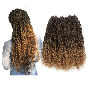 Belleshow wholesale 24 stands crochet braid hair faux locs with curly ends wavy faux locs crochet goddess faux locs