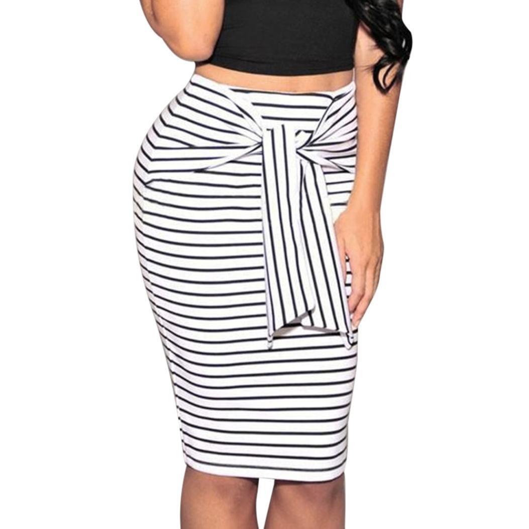 a444dbc9fa Get Quotations · Clearance Hot Sale!Women Skirt Daoroka Sexy Striped Bow  Tied High Waist Skinny Stretchy Slim