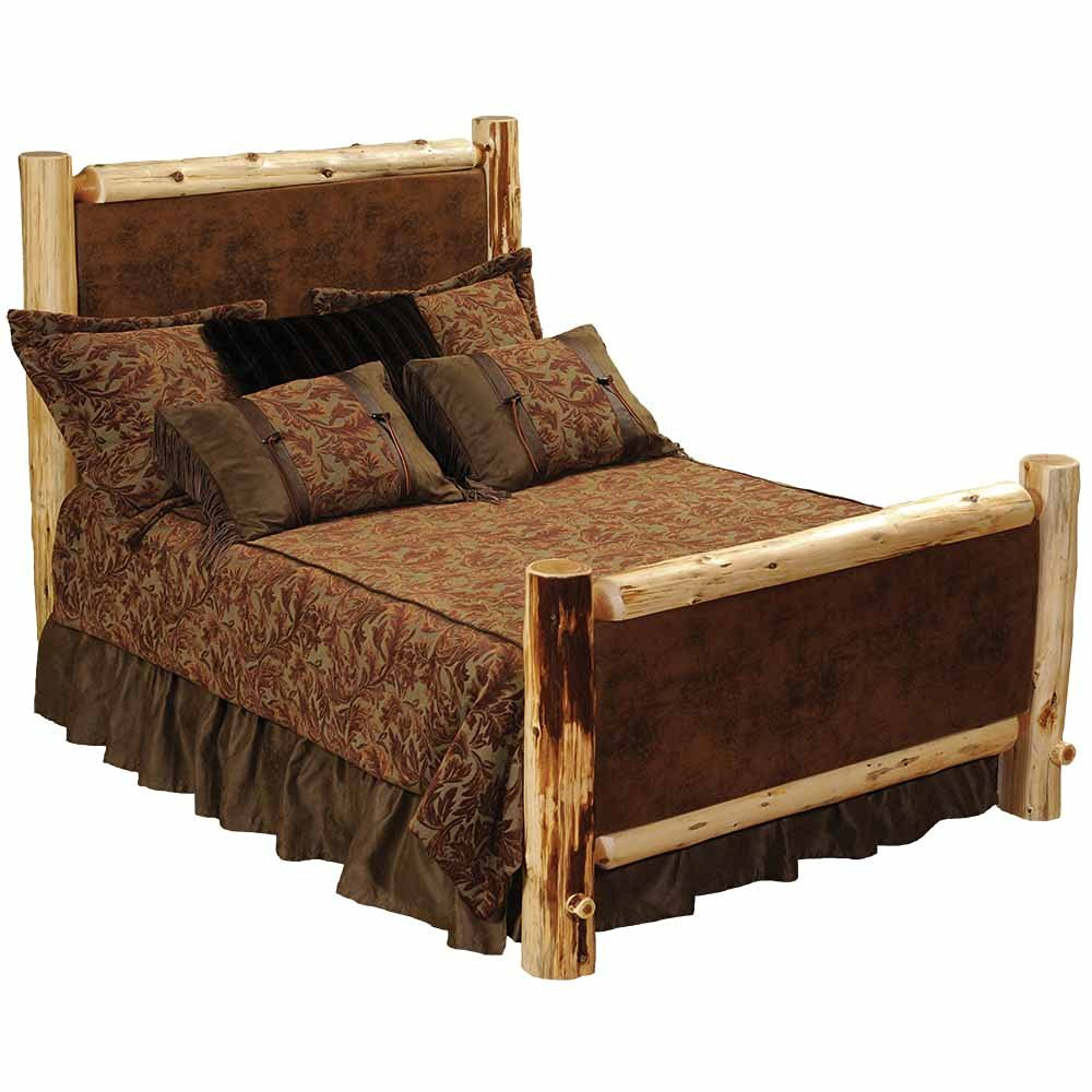 Cedar Leather Log Double Bed Real Wood Western Lodge Rustic Cabin