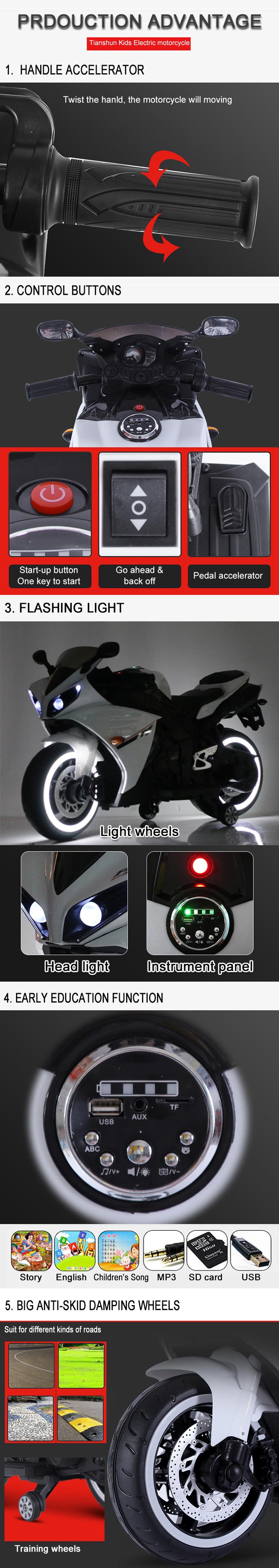 Neue modische design kinder wiederaufladbare spielzeug motorrad
