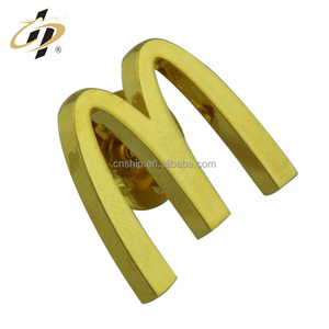 Factory wholesale gold bulk custom metal brand company logos name lapel pin