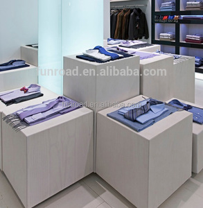 wooden clothes display cube painted in white for garments shop display solution