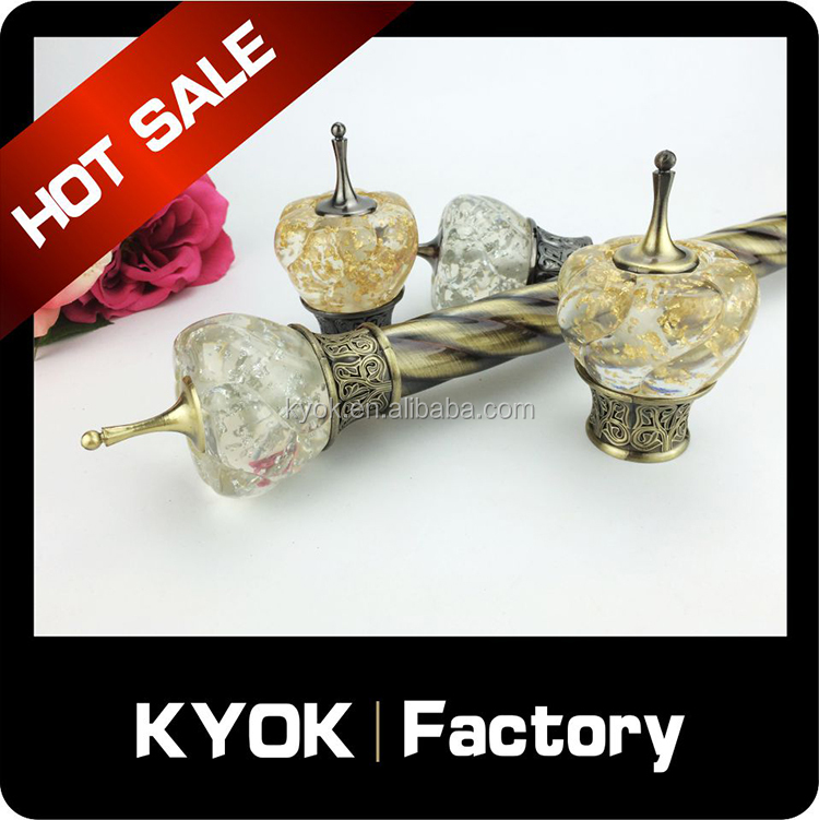 KYOK High quality fashionable spring rods curtain rods finials , curtain rod accessoris curtain finials