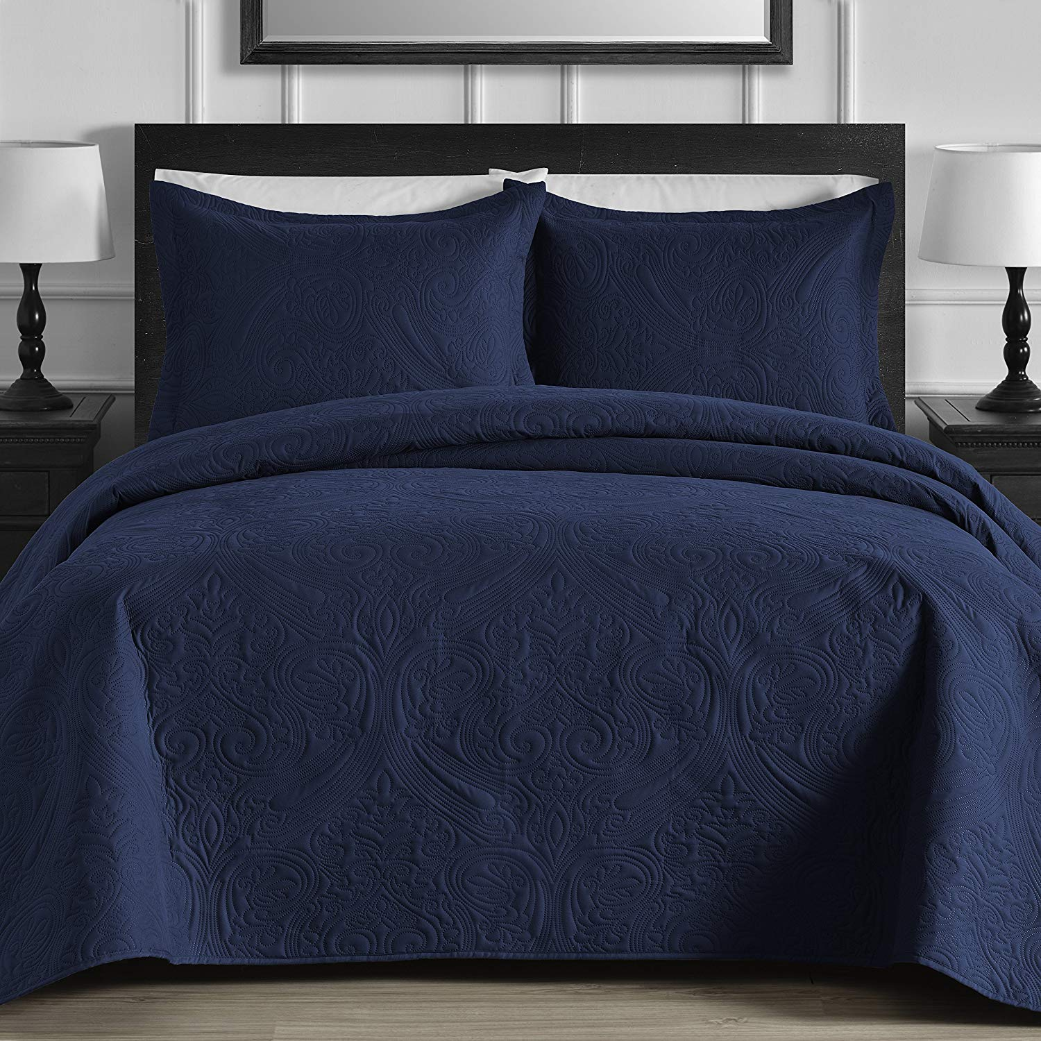 Thermal Pressed Modern Quilted Full Queen /& King Khaki 3-piece Coverlet Set
