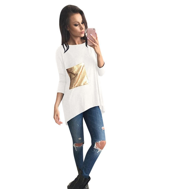 Bright patch pockets long sleeves ladies casual tops