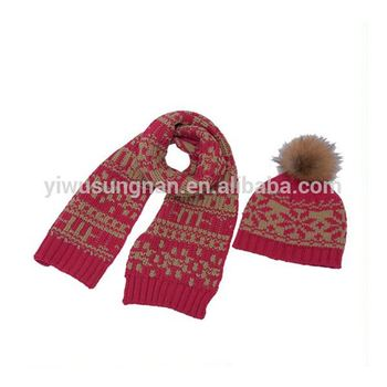 Hot Sell Children Fall and Winter Warm Jacquard Scarf and Hat Suit