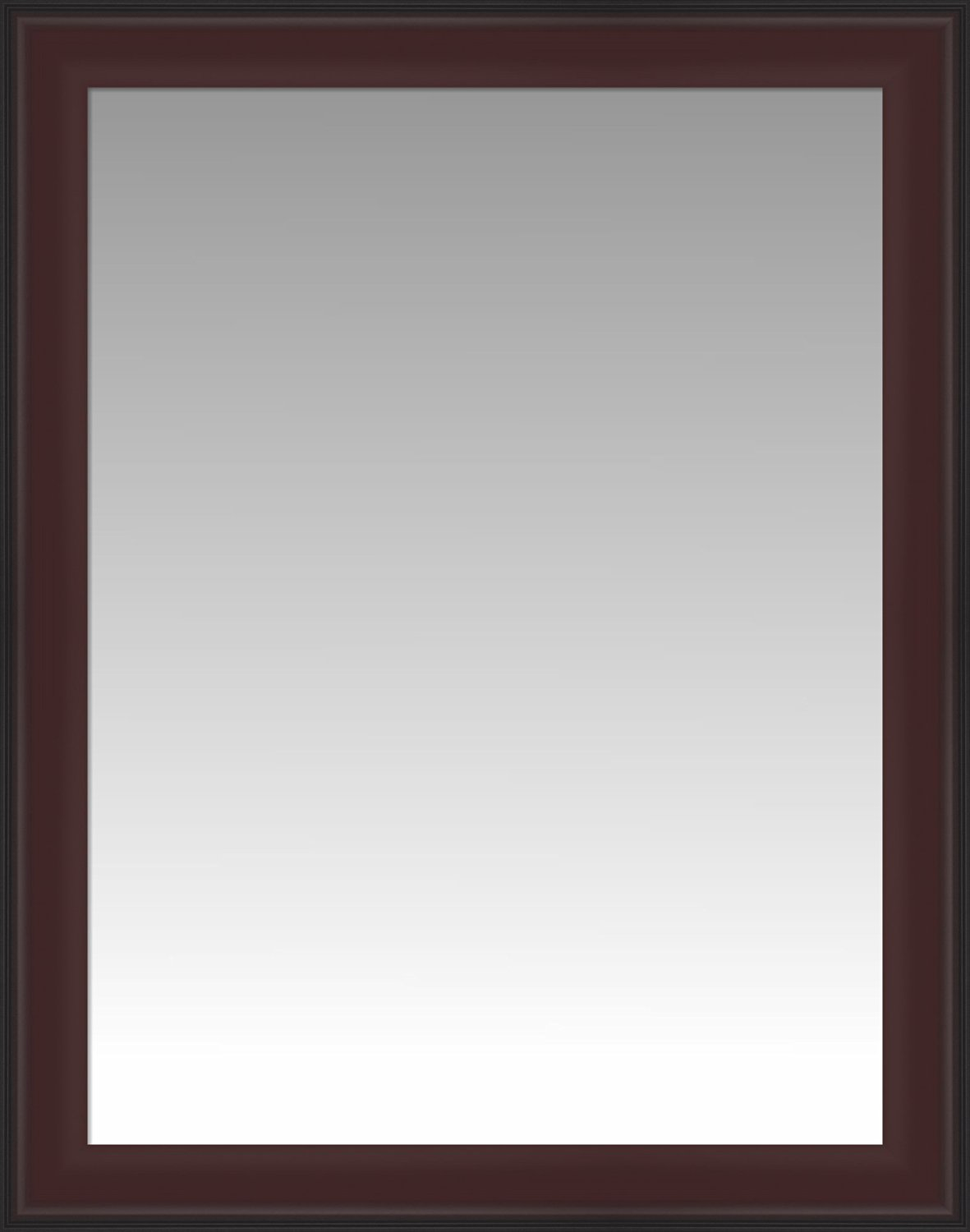 Formal Dark Cherry with Black Outer Edge Wall Mirror, Size 25.5 X 31.5