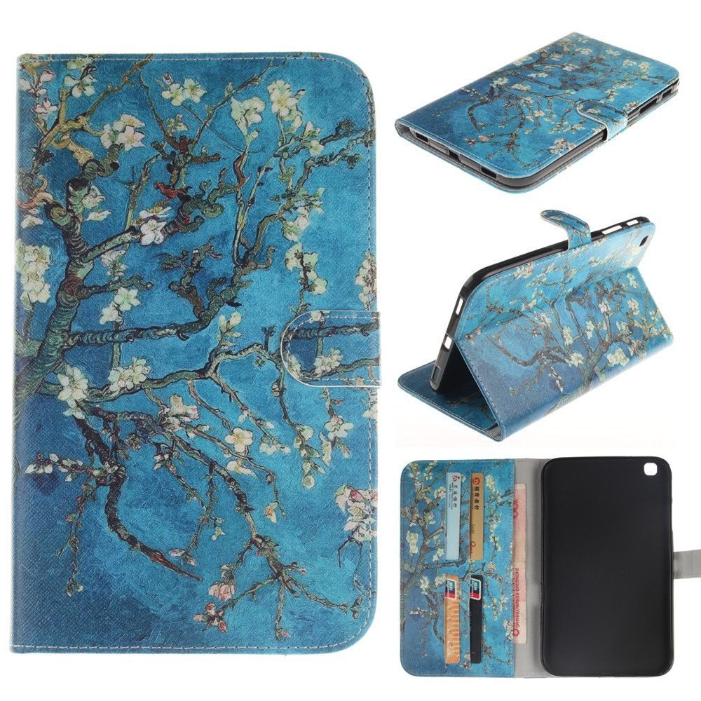Galaxy TAB 3 8.0 Case,T310 Case,IVY [Kickstand Feature][Card Slot][Cash Pockets][Magnetic Buckle][Apricot Blossom Tree] Premium PU Leather Wallet Flip Case For Samsung Galaxy TAB 3 8.0 Inch P8200 T311