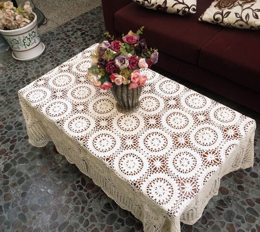 Christmas Decorations Handmade Crochet Flowers Woven Cotton Lace Tablecloth Hollow Coffee Table Cover Cloth