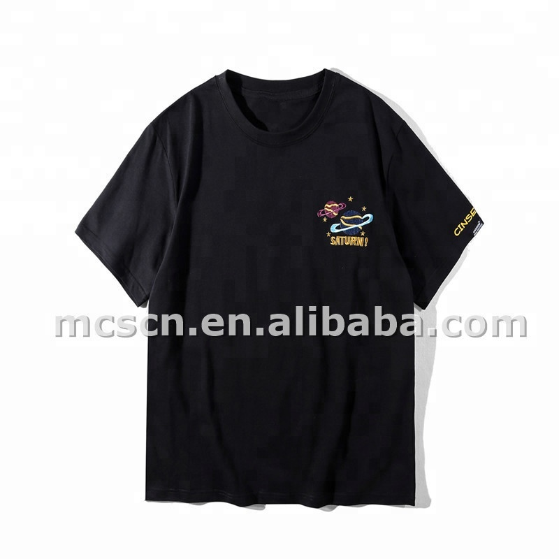2018 New 3D Embroidered Logo Tee Shirts Top Quality Unisex Cotton T-Shirts Custom Design Low Quantity OEM service <strong>China</strong> Factory