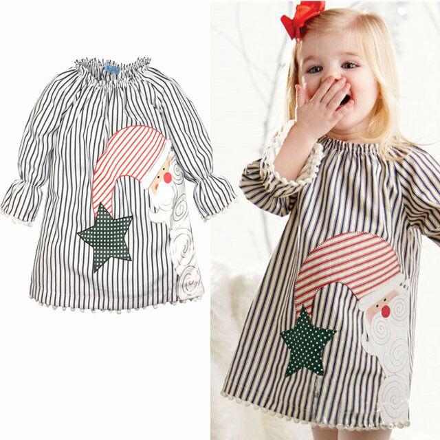 2016 Popular Christmas Baby Girls font b Dress b font Baby Girl Long sleeve Stripe Santa