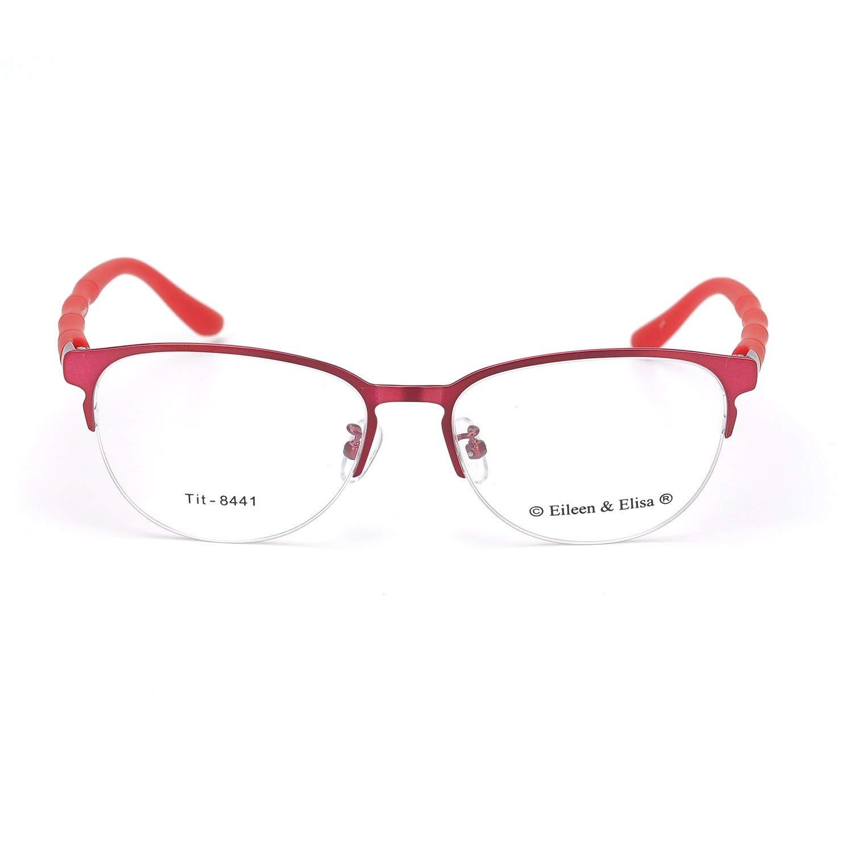 4d5159133e2 Get Quotations · New Classic Half Frame Non-prescription acetate Glasses  Clear Lens for Women Men