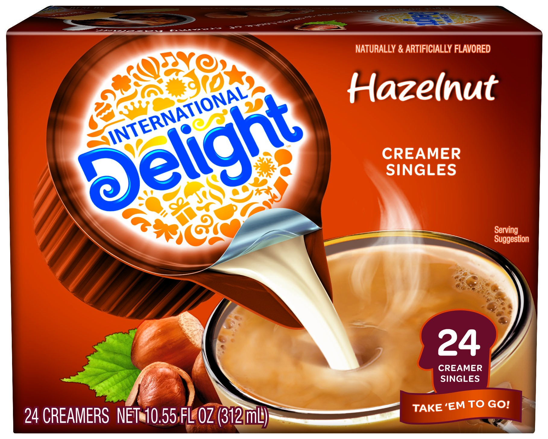 International Delight, Hazelnut, Single-Serve Coffee Creamers, 24 Count, Shelf Stable Non-Dairy Flavored Coffee Creamer, Great for Home Use, Offices, Parties or Group Events
