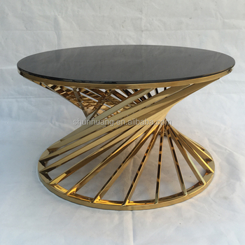 Living Room Stainless Steel Round Coffee Table With Black Tempered