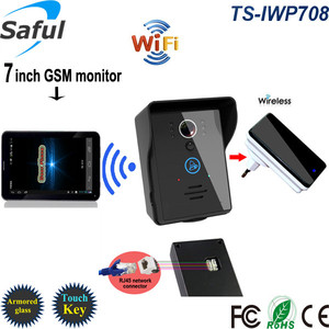 "Wireless luxury 7"" touch screen wifi gsm video door phone with Android/ iOS app for villa"