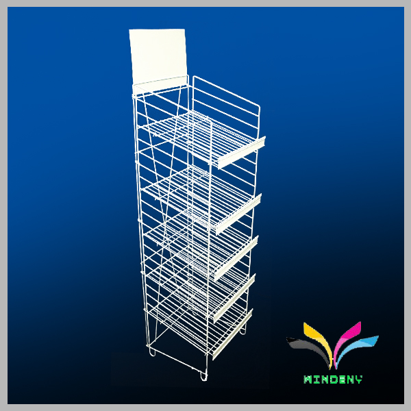 5 Tiers Floor Standing Metal Wire Display Rack for store Pushing Sale