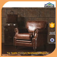 Antique european style Chesterfield imported cowhide genuine leather sofa set furniture