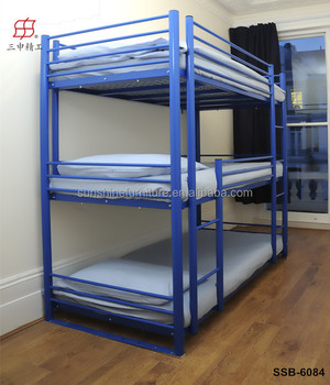 Cheap Military Home Hotel School Heavy Duty Metal 3 Tier Bunk Bed