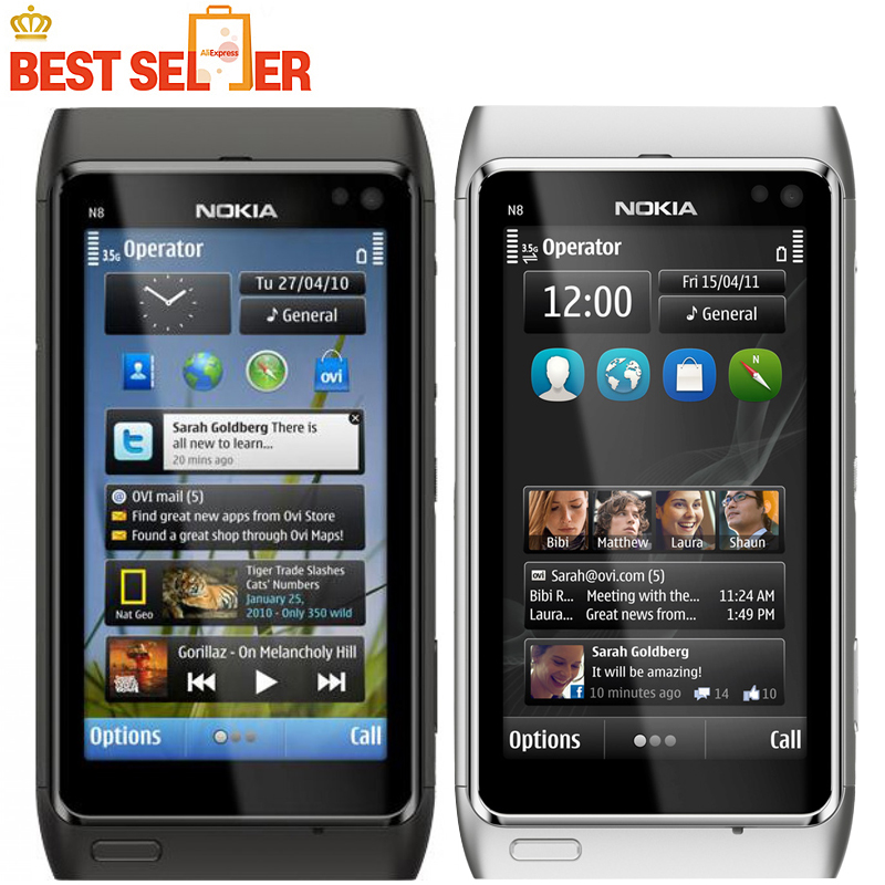 "N8 Original Nokia N8 Mobile Phone 3.5"" Touch screen 3G GPS ...