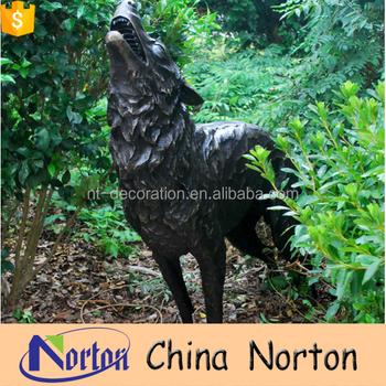 Norton Factory Brass Wolf Garden Statues For Sale NTBA W006Y