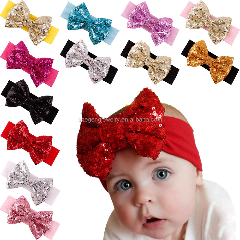 1ea1a4adee08 Queengirls Baby Elastic Cotton Headbands with Big Bows