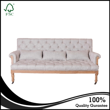Elegant Design French Country Style Loveseats Three Seats Linen Fabric Tufted  Sofa Button White Wedding Sofa