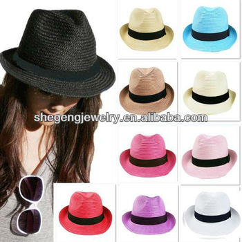 0b890074 NEW Unisex Vintage Beach Summer Trilby Packable Crushable Straw Sun Hat