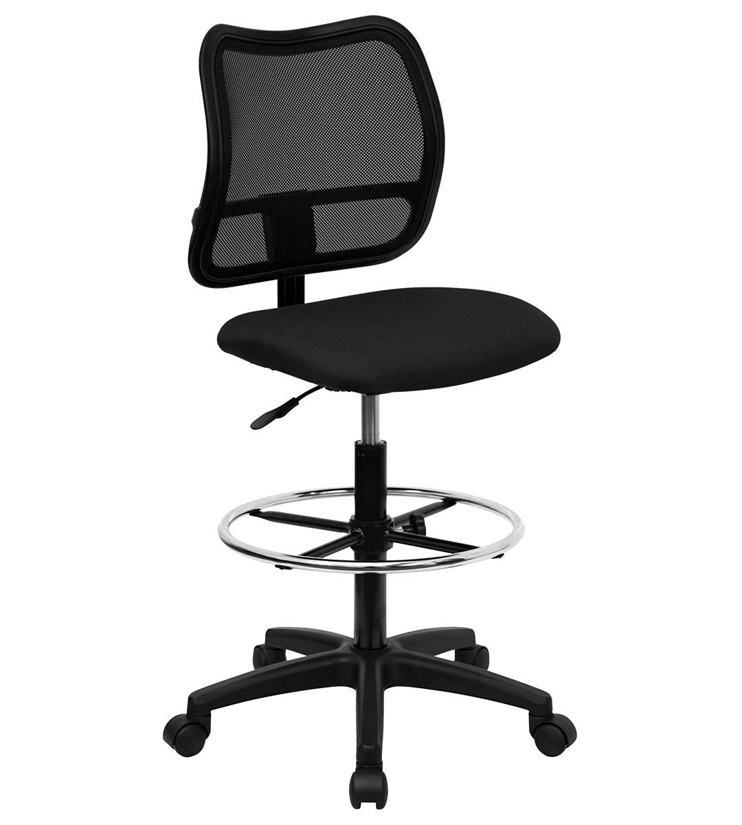 Value Star Mid-Back Mesh Drafting Stool with Black Fabric Seat