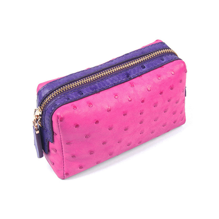 Wholesale fashion women real ostrich leather travel cosmetic clutch bag personalized makeup bag