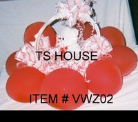 Valentines Gift Basket with stuffed animal and Ballons