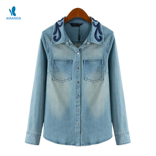 Long sleeve women denim jeans Shirts blouse unique embroidery turn-down collar pockets Casual Jeans denim shirts women blouse