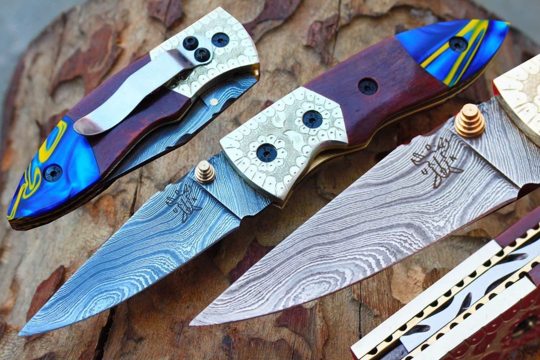 "Damascus 3.0"" Folding knife w/Steel Engraved Bolsters, Clip, File-Work,Liner Lock,Colored Bone, Blue Kirinite Pearl & Sheath cover UDK-A-D-F-42"