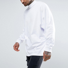 Benutzerdefinierte long sleeve high neck plain mens weiß t shirts