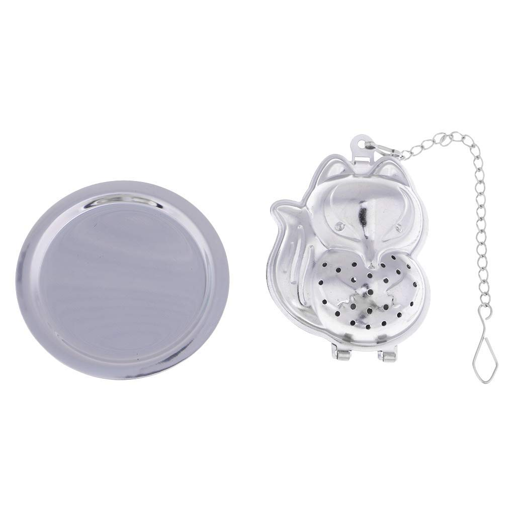 MagiDeal Tea Infuser Stainless Steel Tea Pot Infuser Filter Loose Tea Leaves Strainer Handle Tea Ball Silver
