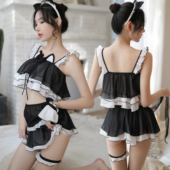 Womens Sexy Valentine Cat Woman Teddy Costume 2pcs maid lingerie