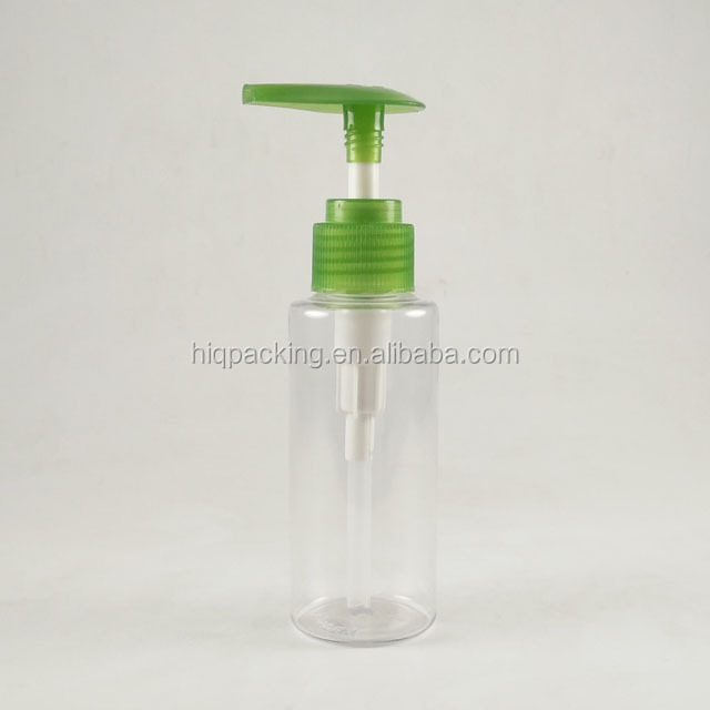 hot sale clear 100 ml plastic 120ml pet lotion pump bottle with green pump